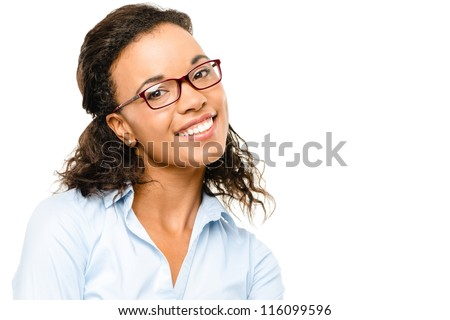 Happy African American Businesswoman smiling isolated on white background - stock photo