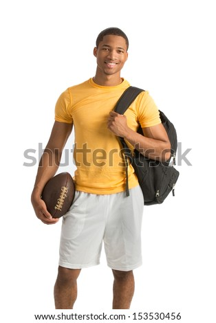 Happy African American College Student Holding Football on Isolated White Background - stock photo