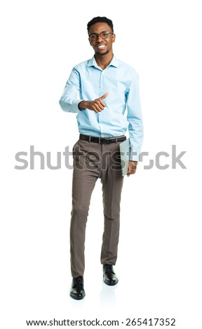 Happy african american college student with laptop and finger up standing on white background