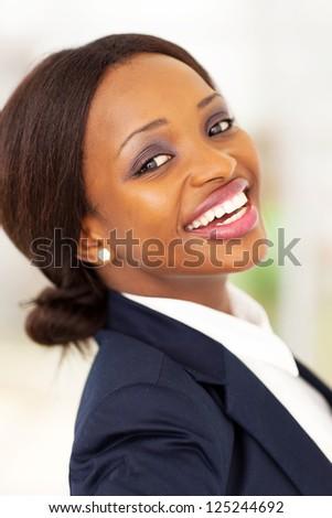 happy african american corporate worker closeup - stock photo