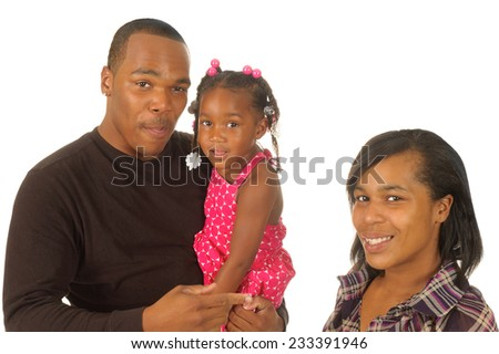 Happy African American family isolated on white - stock photo