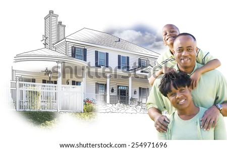 Happy African American Family Over House Drawing and Photo Combination on White. - stock photo