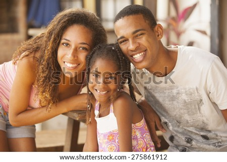 Happy african american family smiling