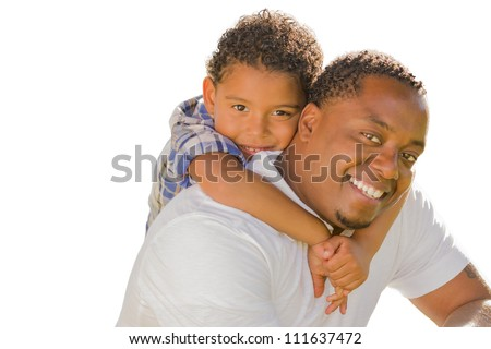 Happy African American Father and Mixed Race Son Playing Piggyback Isolated On A White Background. - stock photo
