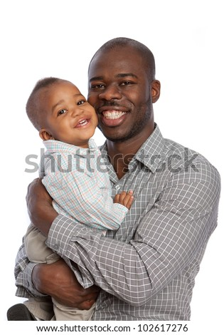 Happy African American Father Holding Baby High Key Portrait Isolated on White Background - stock photo