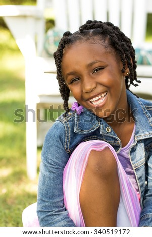 Happy African American little girl