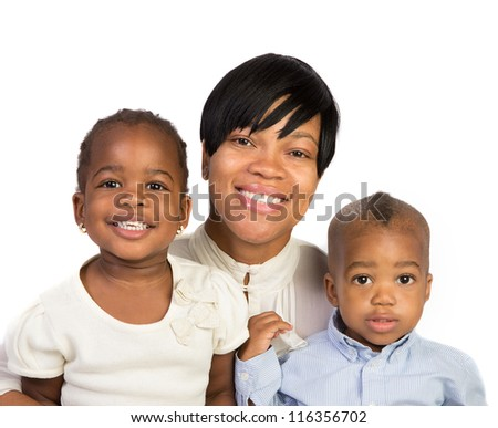 Happy African American Mother Holding Son and Daughter High Key Portrait Isolated on White Background - stock photo