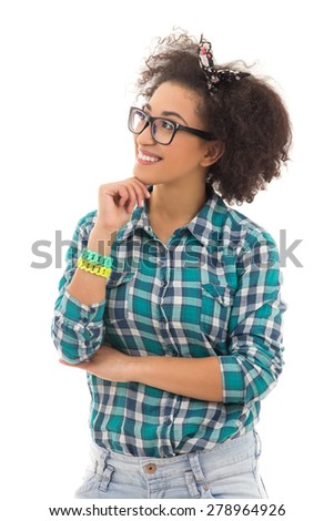 happy african american teenage girl dreaming about something isolated on white background - stock photo