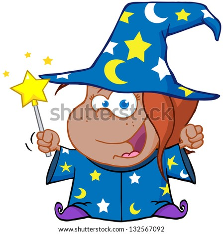 Happy African American Wizard Girl Waving With Magic Wand. Raster Illustration.Vector Version Also Available In Portfolio. - stock photo