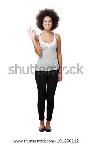 Happy african american woman isolated on white background