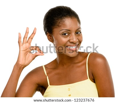 Happy African American Woman okay sign isolated white background - stock photo