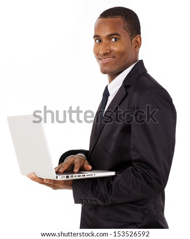 Happy African business man with laptop, isolated on white