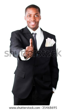 Happy African businessman with thumb up and dollars in a pocket