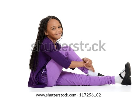 happy african child sitting - stock photo