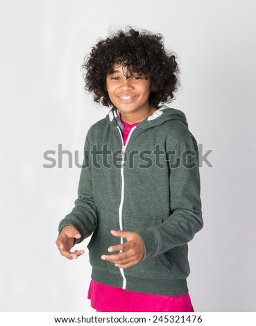 Happy African decent child with Afro hairstyle