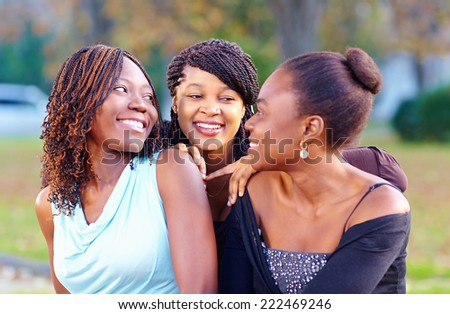 happy african friends having fun outdoors - stock photo