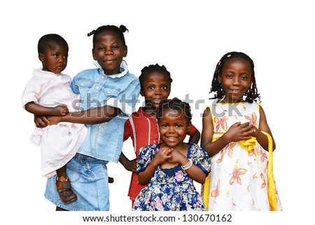Happy African kids all girls or sisters of the same family isolated on white - stock photo