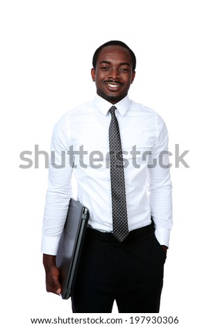 Happy african man standing with laptop isolated on white background