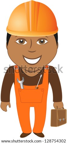 happy afro american worker - home master with tools - stock photo