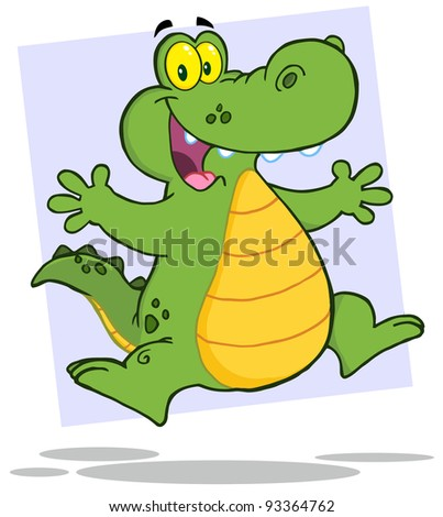 Happy Alligator Or Crocodile Jumping - stock photo