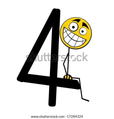 Happy Alphabet number - 4 four - stock photo