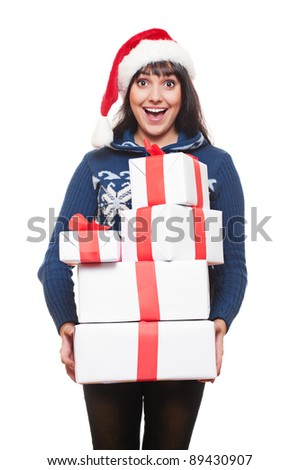 happy amazed woman holding many boxes with presents. isolated on white background - stock photo