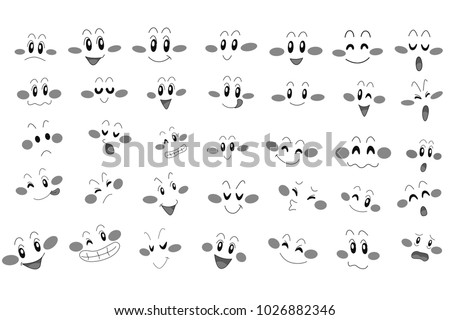 happy and angry faces on a white background