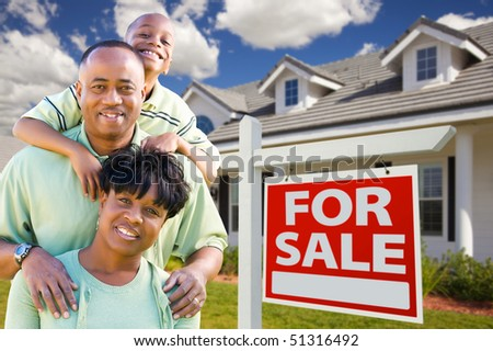 Happy and Attractive African American Family with For Sale Real Estate Sign and House. - stock photo