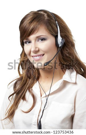 Happy and attractive customer support phone operator - stock photo