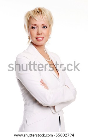 happy and beautidul business woman - stock photo