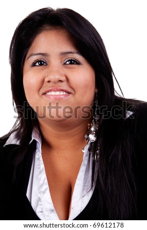 happy and casually dressed large  latin woman, isolated on  white studio shot - stock photo