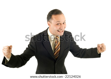 happy and dynamic businessman on white background