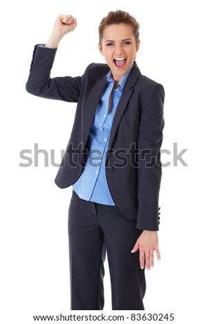 happy and ecstatic businesswoman, isolated on white background - stock photo