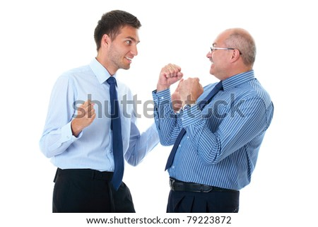 happy and excited senior and young businessman, isolated on white - stock photo