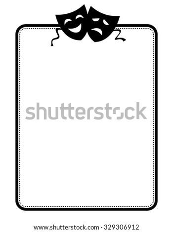 Happy and sad theater masks frame isolated on white background - stock photo
