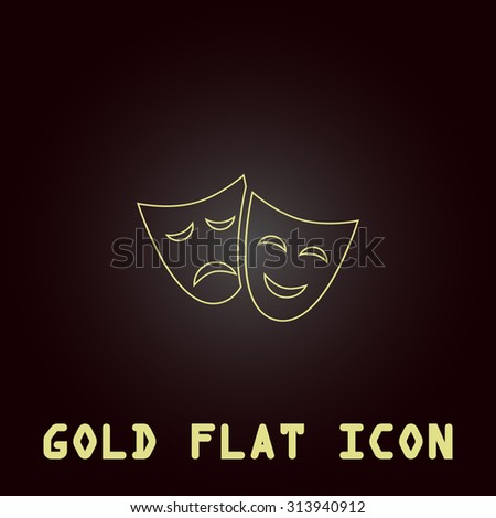 Happy and sad Theater masks. Outline gold flat pictogram on dark background with simple text. Illustration trend icon