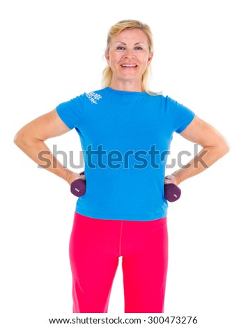 Happy and smile old senior woman in sport outfit doing fitness exercises with weights, isolated on white background, Positive human emotions - stock photo
