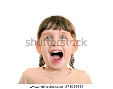 Happy and Surprised Little Girl Isolated on the White Background