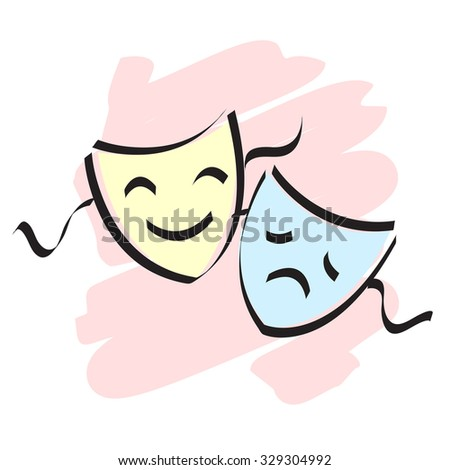 Happy and theater mask / faces isolated on white background  - stock photo
