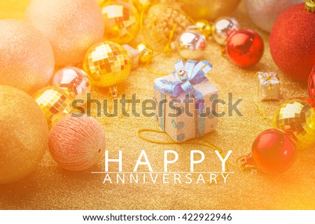 happy anniversary card with golden color style - stock photo