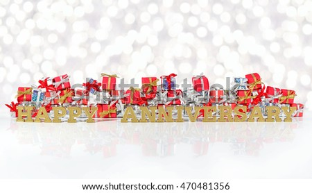 Happy anniversary golden text on the background of red and silver gifts on a bokeh background