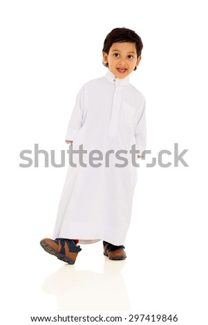 happy arabic boy in traditional clothes - stock photo