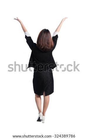 Happy asia business woman back view on white background - stock photo