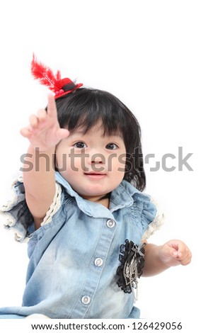 Happy Asian baby girl on white isolate