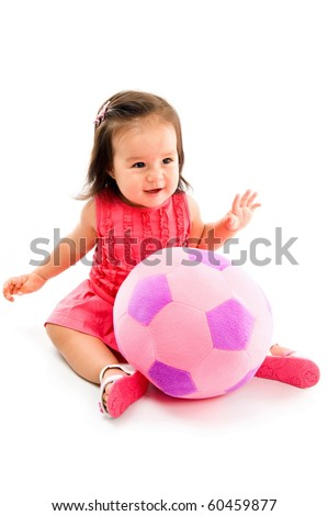 Happy Asian baby smilling with a plush ball . - stock photo