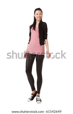 Happy Asian beauty, full length portrait isolated on white background. - stock photo