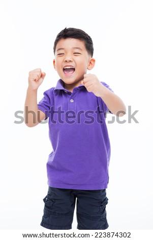 Happy Asian boy isolated on white background.  - stock photo