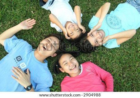 Happy asian family (series) - stock photo