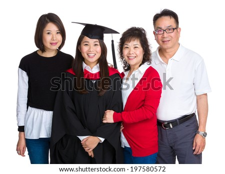 Happy asian family with graduate girl - stock photo