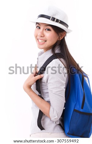 happy asian female traveller isolated
